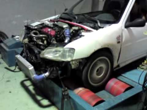 peugeot 106 1600 8v turbo on dynot&d - youtube