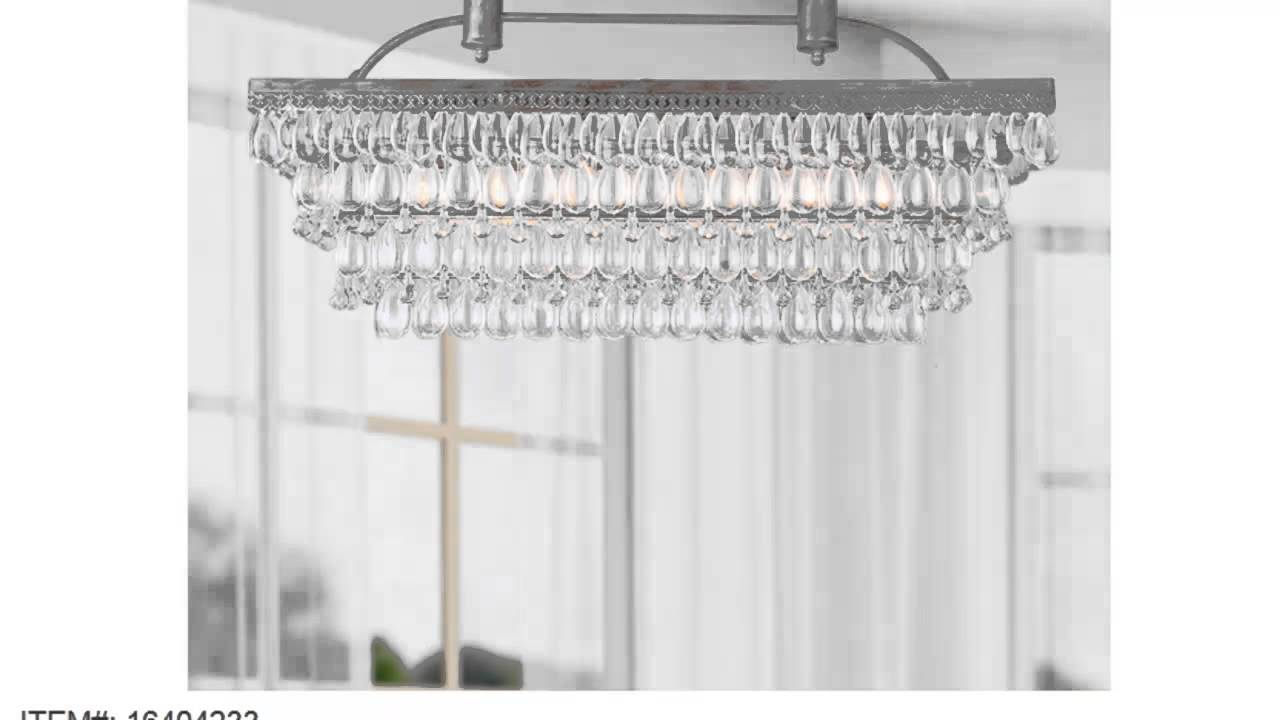 Low price antique silver 6 light rectangular glass droplets low price antique silver 6 light rectangular glass droplets chandelier mozeypictures Image collections