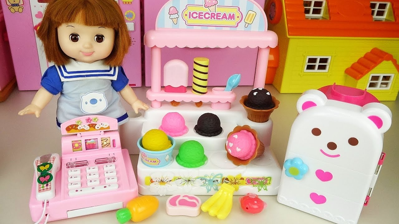 Baby Doll ice cream store and cash register and baby Doli cute music - ToyPudding