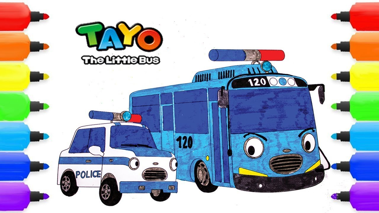 Tayo the little bus coloring pages pat tayo the police car drawing coloring