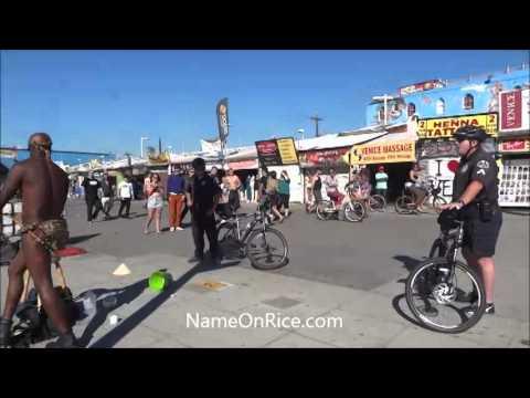 SOLOMON SNAKE RANGLER HARASSED BY LAPD POLICE VENICE BEACH CALIF JAN 15, 2014