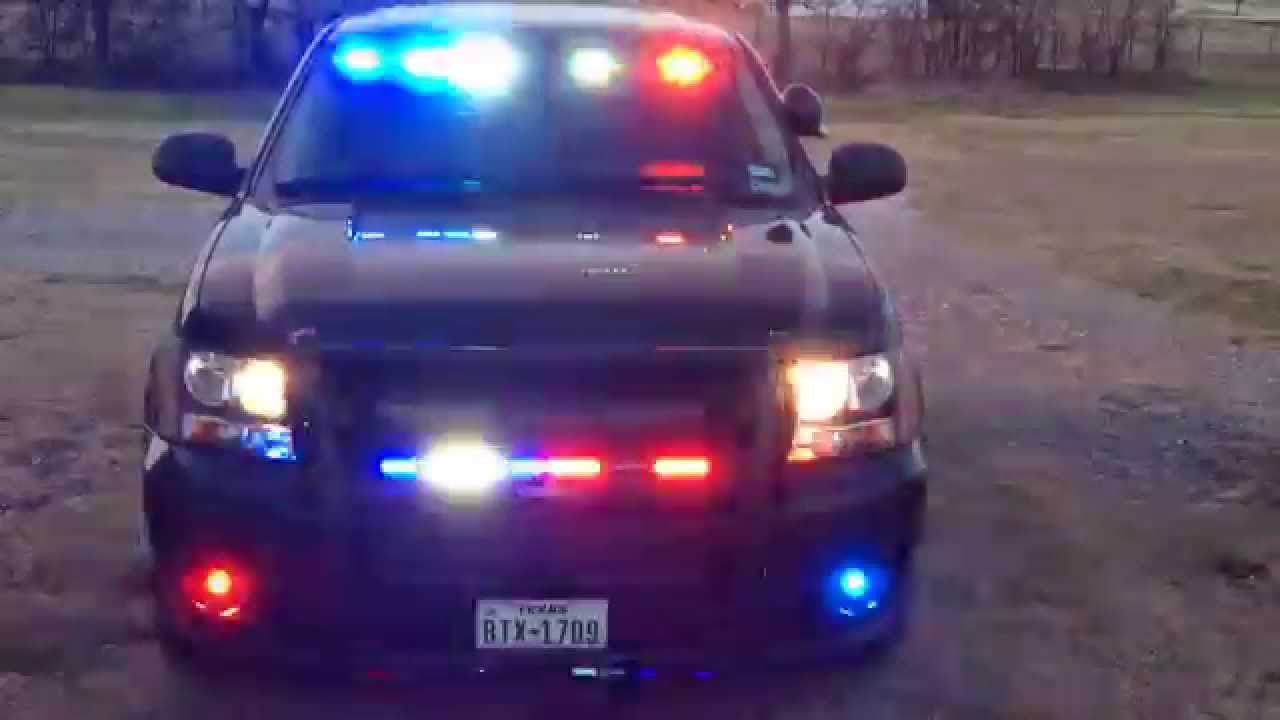 Feniex lights in 2013 Black Chevy Police Tahoe front view ...
