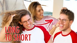 Long to Short hair - Crazy mens hair Transformation - Curly Hairstyle