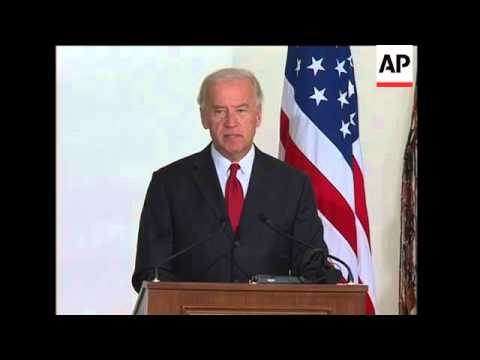 US VP Biden on visit ahead of June elex, presser with Suleiman, meets Saniora
