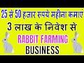 Rabbit Farming Business Idea || 3 लाख के निवेश से 25 से 50 हजार रूपये महीना कमाएं.