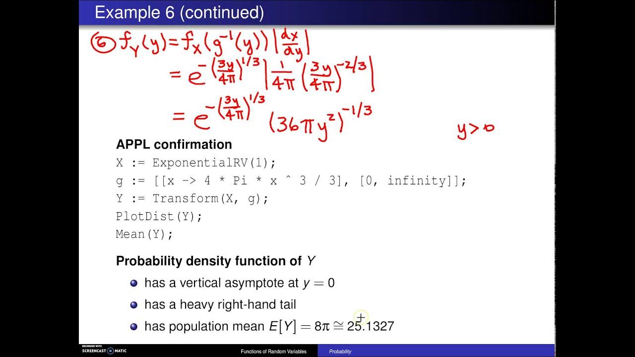 Transformation Technique For Continuous Random Variables Example