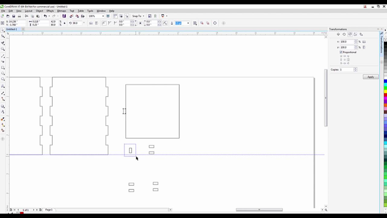 hight resolution of use coreldraw software to draw a box for laser cutting