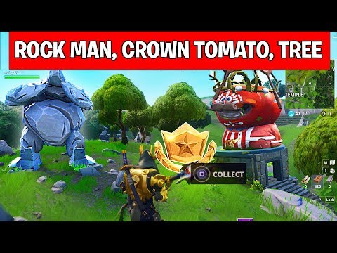 Search between a Giant Rock Man, a Crowned Tomato and an Encircled Tree – LOCATION WEEK 5 Fortnite