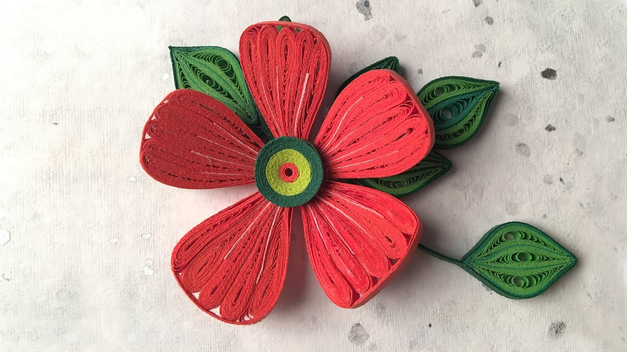 How To Make Beautiful Red Flower Design Using Paper Art Quilling