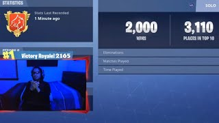 GETTING MY 2000th SOLO WIN! 19 KILL GAME! | Fortnite Battle Royale LIVE