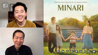 Steven yeun (the walking dead, burning, okja, mayhem) and lee isaac chung are interviewed by thomas alexander for minari, playing at the 2021 glasgow film fe...