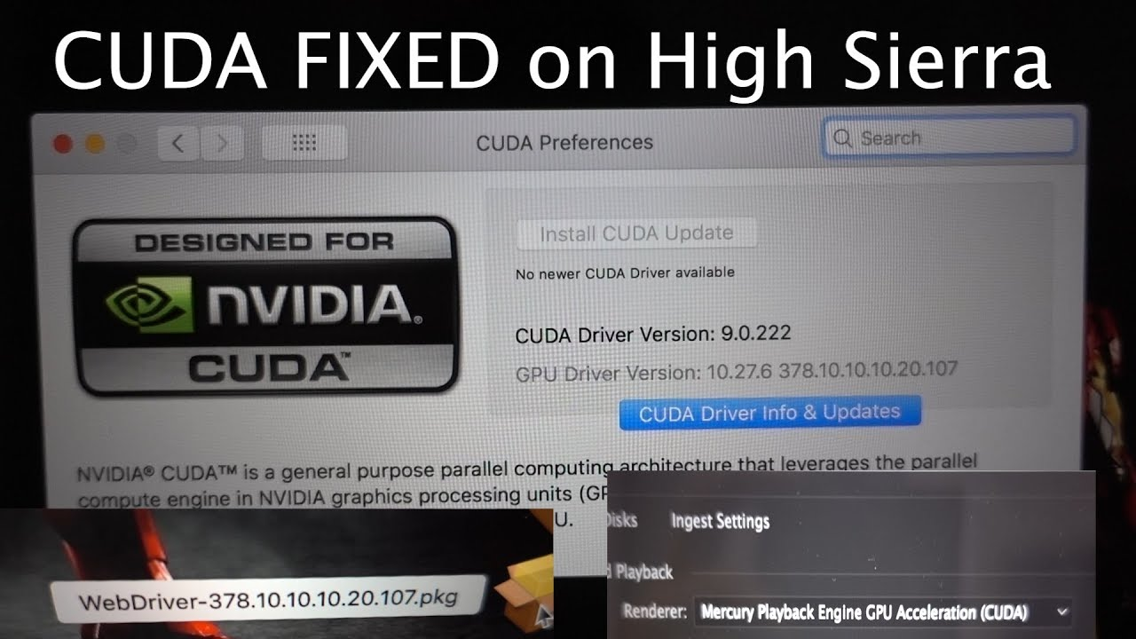 CUDA fix on High Sierra for Macbook pro, Imac, and Mac pro with nvidia cards