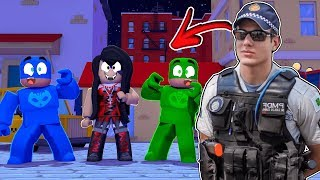 LAGARTIXO, CORUJITA AND CAT BOY AND THE MOST DANGEROUS GIRL OF ROBLOX! * NEW MOMO? POLICE! * PJ MASKS