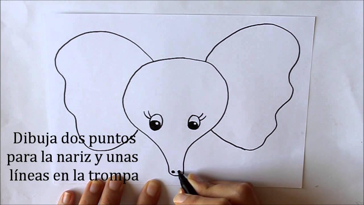 Cmo dibujar un Elefante cara Dibuja Conmigo Dibujos de Animales