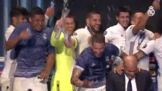 Players celebrate UEFA Super Cup win by soaking Zidane in press conference!