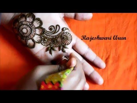 special simple easy arabic mehndi designs for hands for beginners || arabic henna by Rajeshwari Arun