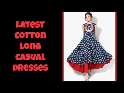 Latest Cotton Long Casual Dresses 2017