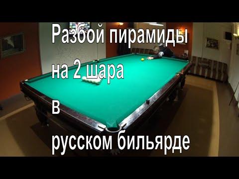 Разбой пирамиды на 2 шара в русском бильярде