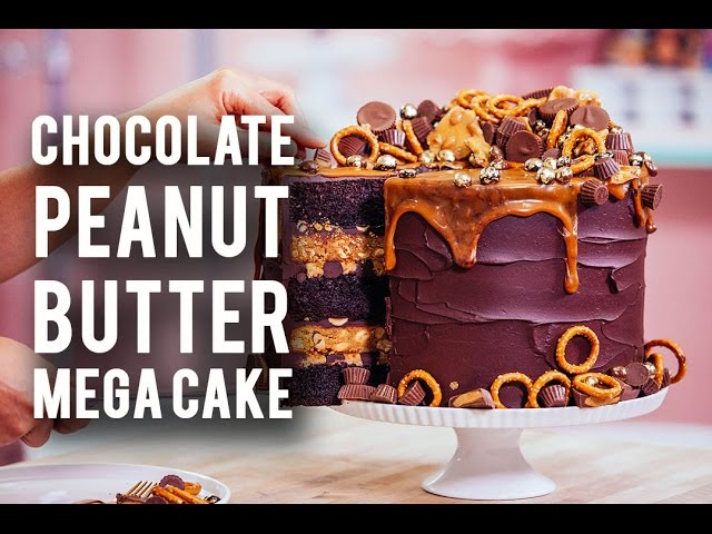 how-to-make-a-chocolate-peanut-butter-mega-cake-rich-chocolate-sweet-caramel-peanut-butter
