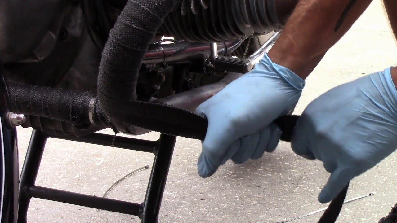 How to wrap motorcycle exhaust pipes still on bike