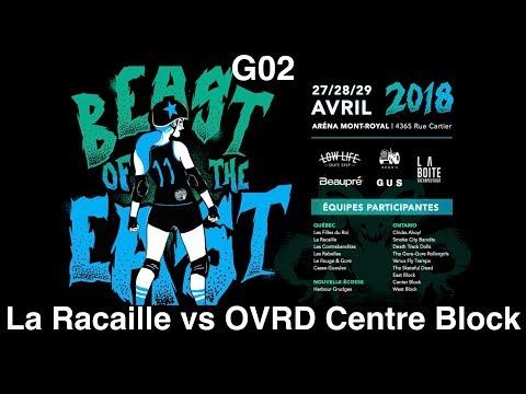 G02 La Racaille vs OVRD Centre Block Montreal Beast of the East 2018 Roller Derby BOE2018 MTLRD