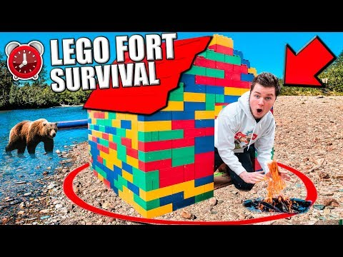 24 HOUR OVERNIGHT CHALLENGE IN LEGO BOX FORT