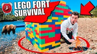 SURVIVING 24 HOURS In A LEGO BOX FORT Only Using LEGO (24 Hour Challenge) thumbnail
