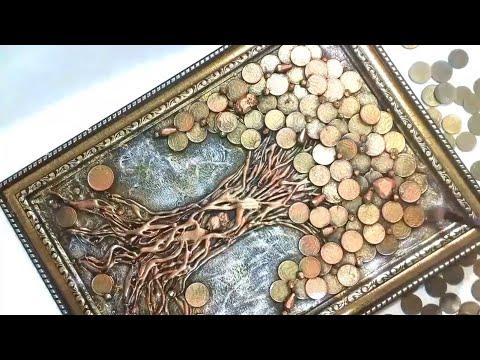 Денежное дерево панно своими руками панно