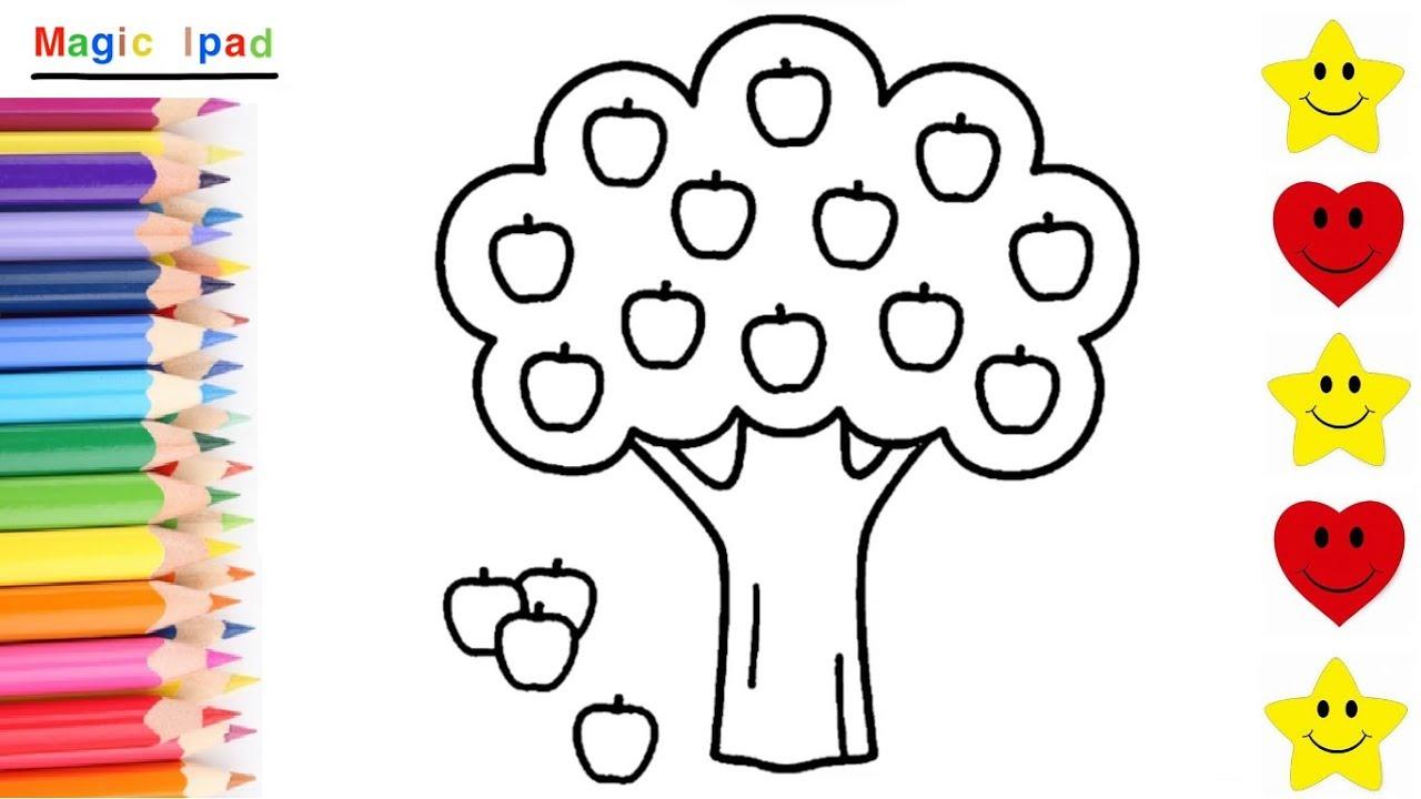 Como Dibujar Y Colorear Un Arbol De Manzanas Manzano How To Draw An Apple Tree