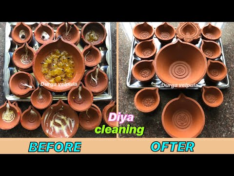 How To Clean Oil Or Ghee Diyas(Oil Lamps) After Diwali Celebrations //Diya Cleaning //Cleaning Ideas