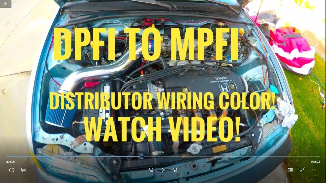 Dpfi To Mpfi Distributor Wiring Color 90 Civic Ef Complete Youtube Dohc Zc Harness