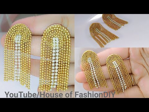 How To Make Designer Earrings||Party ware Earrings||Ball Chain Earrings At Home..!