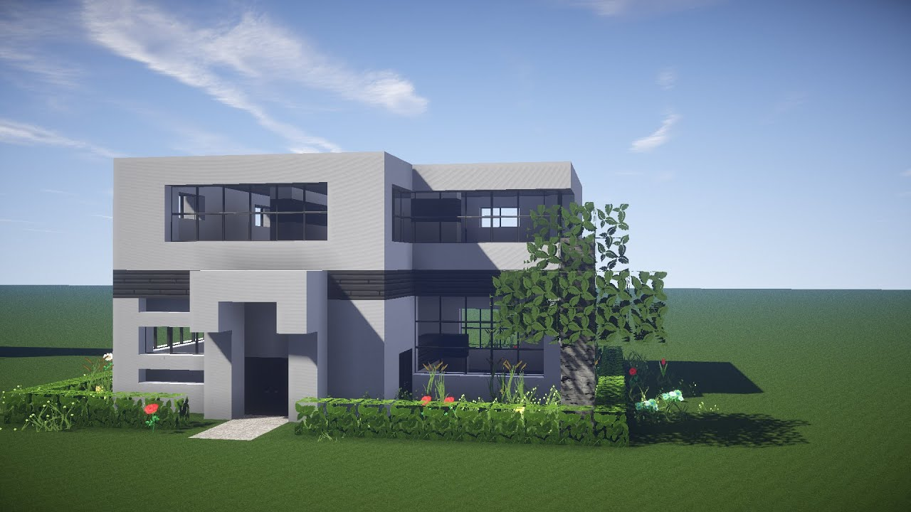 Minecraft house tutorial how to build a modern house in for How to build a modern home