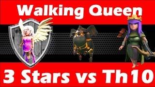 Clash Of Clans - Walking Queen Healer LaLoon vs Maxed Th10 - Tough War Again