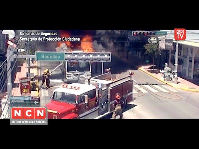 CINCO TV - Peligroso incendio de un colectivo fue advertido gracias a las cámaras del COT