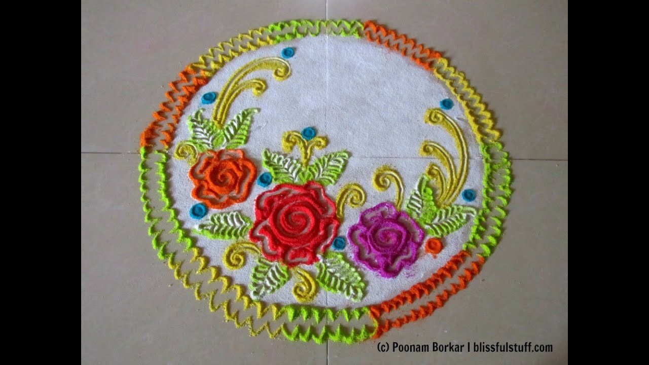 How To Draw Roses In Rangoli Easy And Small Innovative