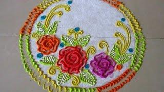 Repeat youtube video How to draw roses in rangoli | Easy and small rangoli | Innovative rangoli designs by Poonam Borkar
