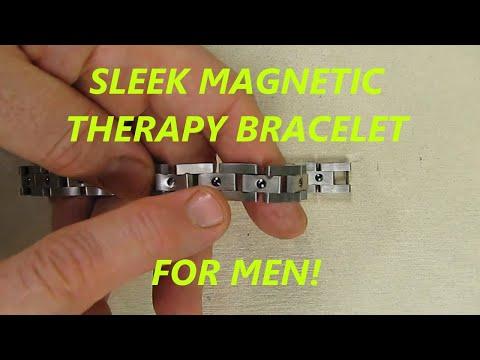 9 inch Feraco Men Sleek Magnetic Therapy Bracelet in Velvet Gift Box