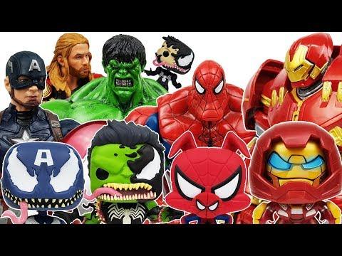 Avengers vs Thanos & Funko Venom Battle! Go~! Spider Man, Thor, , Iron Man, Hulk, Captain America