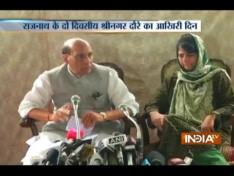 Rajnath Singh and Mehbooba Mufti conducts a joint press-conference in Jammu and Kashmir