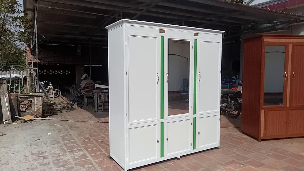 Tủ quần áo 3 buồng khung nhôm tấm alu trắng