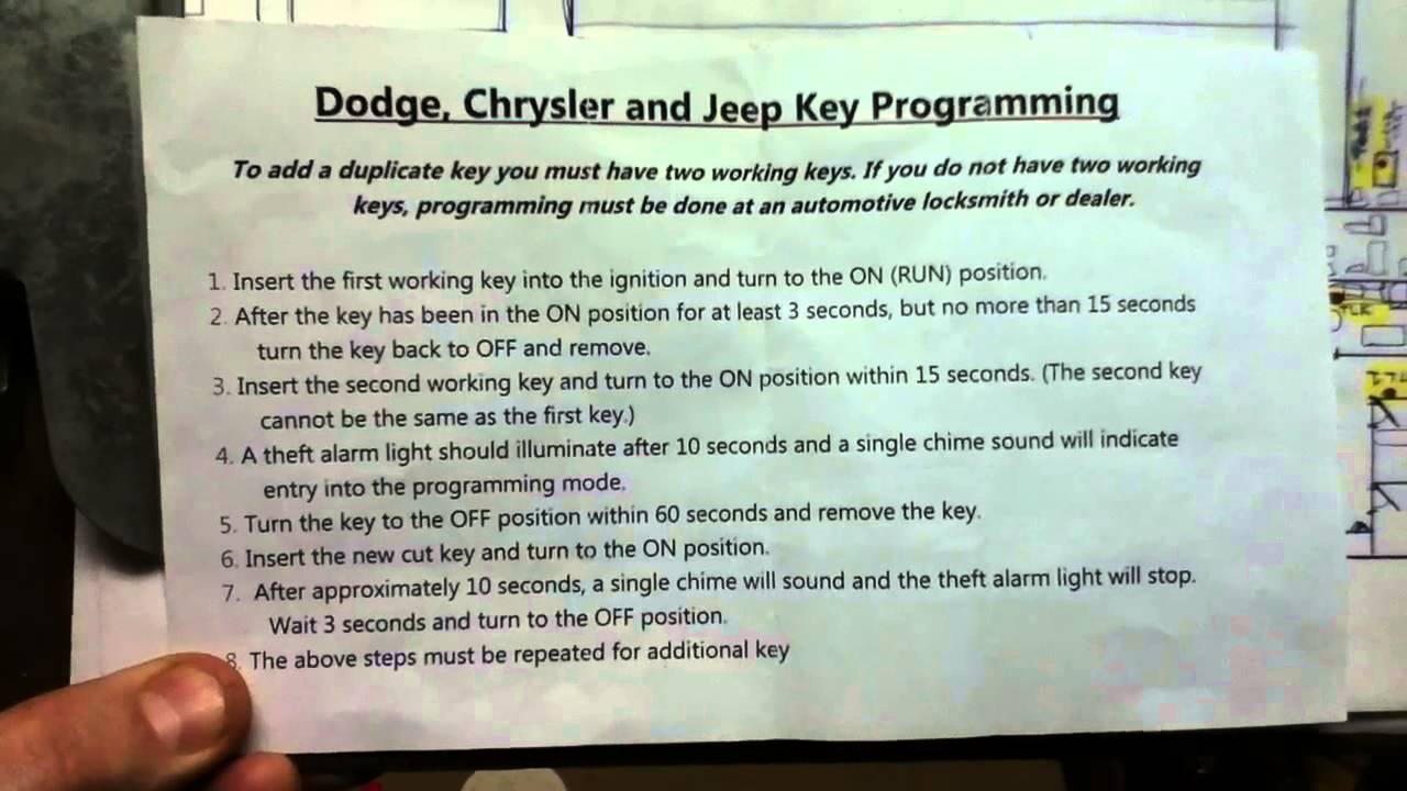 Dodge Chrysler Jeep Key Programming Instructions Youtube