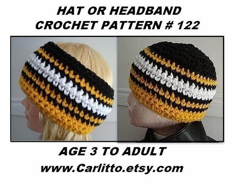 Free Hat Crochet pattern, team colors, headband,  how to diy,