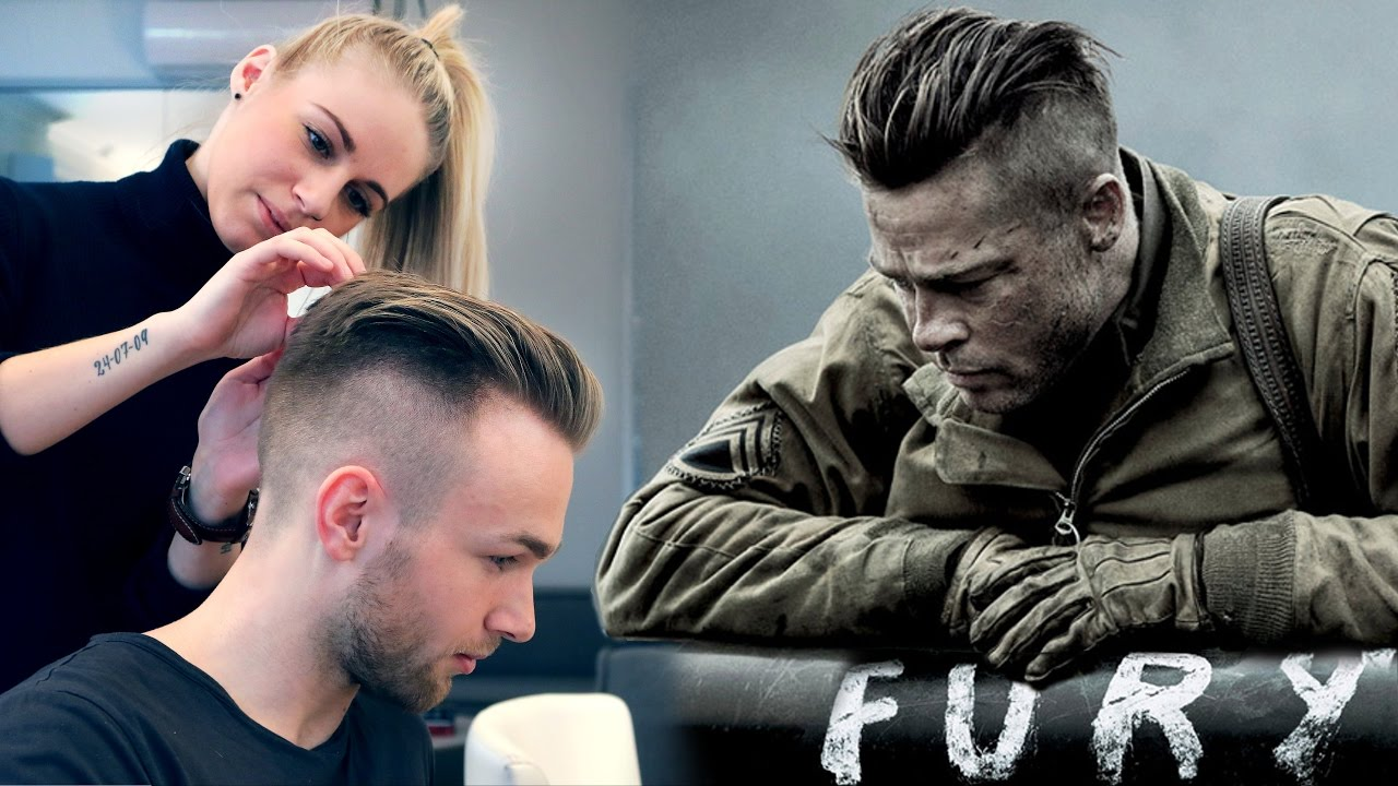 Brad Pitt Hair From Fury Professional Guide Men S Undercut