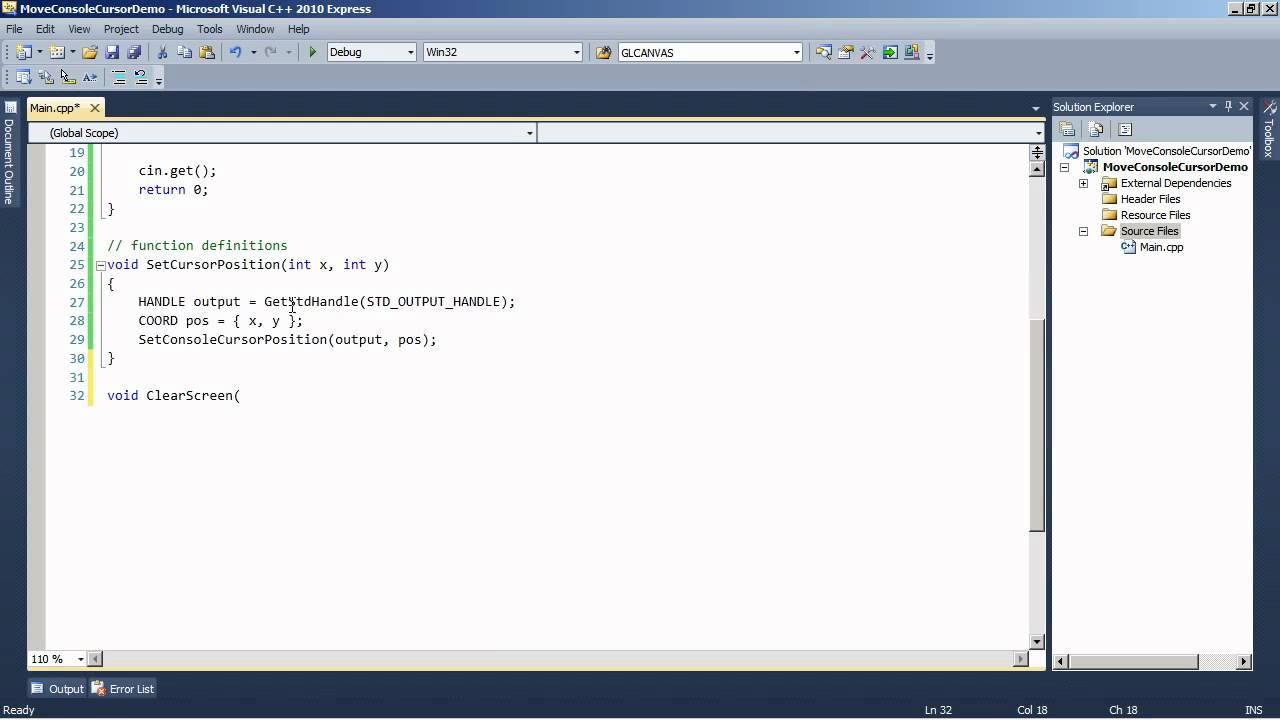 Windows API Tutorial: Moving Console Cursor and Menu System Part 1
