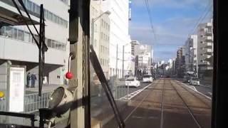 2018 01 展望・広島電鉄・白島線 1900形・元京都市電 八丁堀~縮景園前