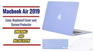Affordable Macbook air 2019 case, keyboard cover and screen protector unboxing and installation