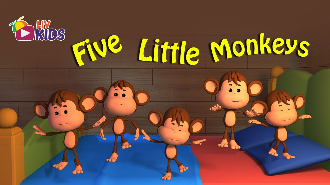 Five Little Monkeys Jumping On The Bed with Lyrics | LIV Kids Nursery Rhymes and Songs | HD