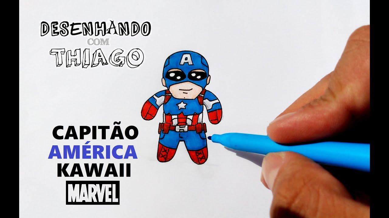 CAPITÃO AMÉRICA - KAWAII (Desenhando com Thiago)