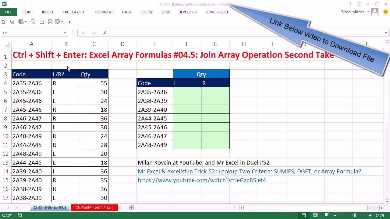 ctrl   shift   enter  excel array formulas  04 5  join array operation or sumifs function